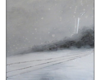 Abstract Winter Landscape Original Painting on Canvas Contemporary/Modern Painting  - 20x20- Gray, White, and more