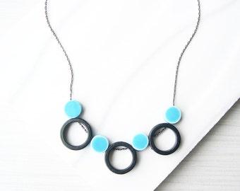 Contemporary Necklace -  Geometric, Black, Modern Jewelry, Aqua Blue Porcelain, Ceramic, Sterling Silver Option