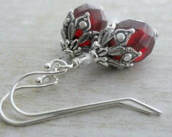 Vintage Glass Earrings - Drop Earrings - Victorian Earrings - Renaissance Earrings - Goth Earrings - Gothic Jewelry - Romantic Earrings