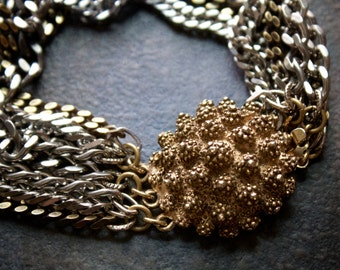 Steel and Brass Curb Chain Multi Strand Bracelet with Vintage Spiky Dome Box Clasp