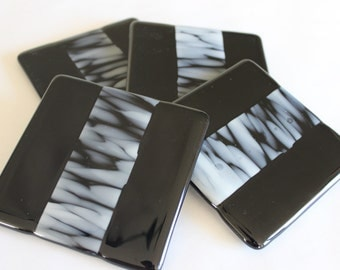 GLASS DRINK COASTERS -Black White Zebra Fused Glass Coaster Set, Gift for Coworker, Hostess Gift, Under 25, Coasters for Drinks, Black White