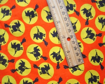 Witchy Silhouette Halloween Fabric - Black, orange and Yellow - Cotton