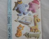 "1968 Stuffed Toy, Two Piece Stuffed Dolls, Bear, Hippo, Whale, Giraffe, Cat, Dog- Vintage 60's McCall's Sewing Pattern 9492- 4""-12"" Tall"