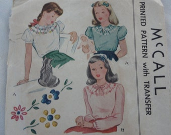 1945 Girls' Blouse with Embroidery, 1940s Blouse, 40s Fashion, WWII Era Clothing- Vintage 40s McCall Sewing Pattern 1206, Size 8 Breast 26
