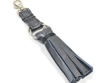 Handmade Gunmetal Leather Tassel Keychain Key Fob keyring.