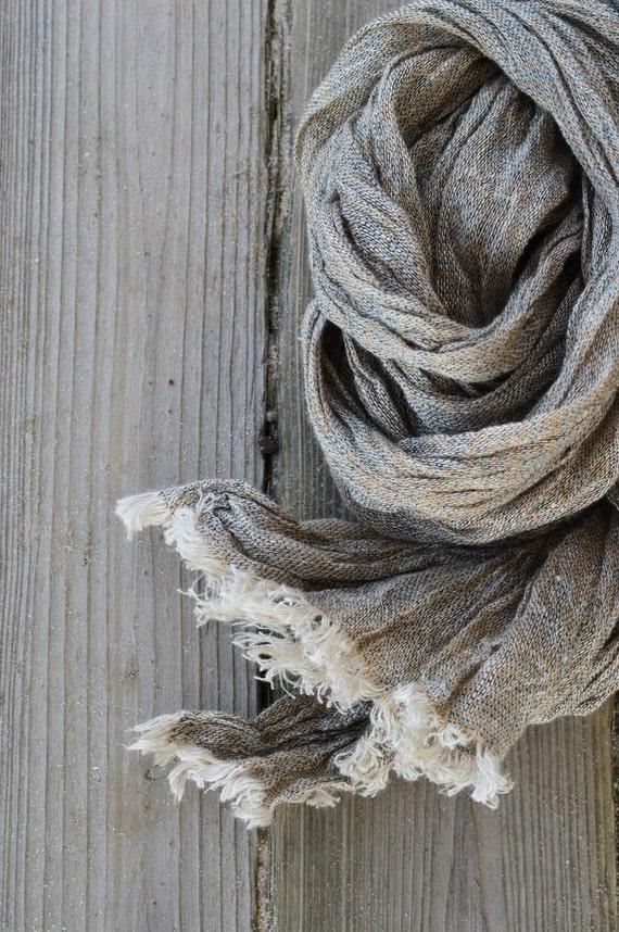 Linen scarf, organic scarf, wool scarf, men scarf, striped scarf, womens scarf, brown scarf, spring scarf, woolen scarf