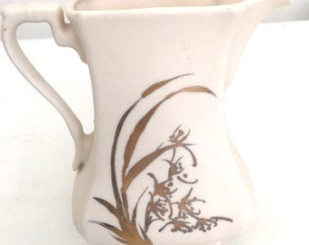 Small Ceramic Pitcher Creamer Eggshell Color With Gold Handpainted Floral Design Wedding Decor Signed Sue Hu 1980