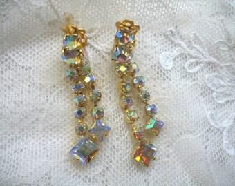 Vintage Rhinestone Earrings ~ Clip On ~ Yellow AB ~ Dangle