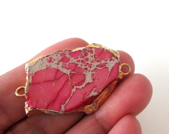 Pink Jasper Connector - Jasper Druzy Bead Stone Pendant - Edged Gold - 2 loops - Double Bail -  Link Focal Pendant Necklace - Jewelry Making