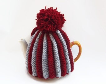 tea pot  cozy knitted cosy gray and red wool  medium pot uk seller