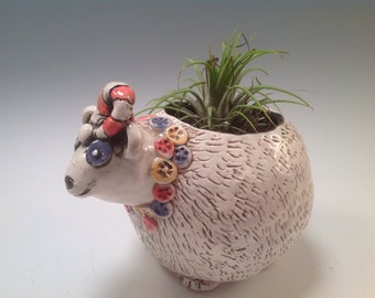 Polar bear planter/polar bear pot/polarbear art/indoor planter/planter/bears/bear art