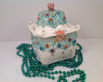 Ceramic box/Millefiore/tea box/kitchen canister/sugar bowl/millfiore/lidded box/kitchen storage/kitchen canister