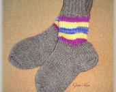 Hand knitted SOCKS KIDS Children Boy Girl Unisex  size 8-12 years old Leg Warmers Slippers Wool Blend