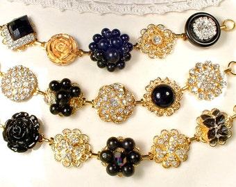 OOAK Gold Black Bridesmaid Bracelet Set 3 4 5 6, Black Crystal & Clear Rhinestone Vintage Wedding Earring Bracelets, Bridesmaid Jewelry Gift