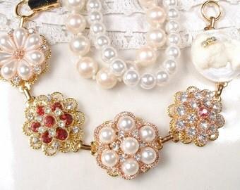 OOAK Vintage Wedding Ruby Red Rhinestone & Pearl Gold Bridal Bracelet, Cluster Earring Bracelet, Bridesmaid Jewelry Rustic Country Romantic