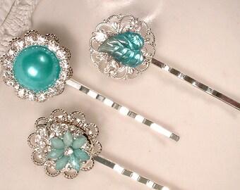Aqua Blue Rhinestone Silver Bridal Hair Pins, Turquoise Jeweled Bobby Pins, Bridesmaids Gift, Vintage Wedding Hairpin Set 3 Teal Hairpiece