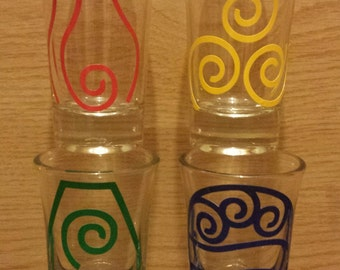Avatar the Last Airbender Shot Glasses - Air, Fire, Earth, and Water Bender Symbols