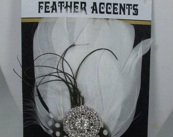 ON SALE 20% OFF Feather Rhinestone Bridal Hair clip