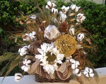 Fall Floral Arrangement, Fall Centerpiece, Pumpkin Flower Arrangement, Sunflower Arrangement, Burlap, Fall Decorations