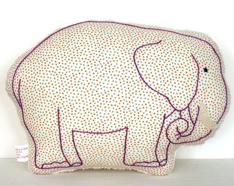 Elephant Nursery Pillow / New Baby Gift / Elephant Pillow / Purple Pillow / Nursery Decor / Hand-Embroidered / 1930s Feedsack Reproduction