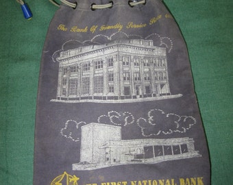 Vintage Bank Money Coin Bag Sack First National Bank Columbus