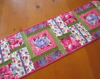 Spring Table Runner, Quilted Table Runner, Floral Table Runner, Handmade Tablerunner, Pink Purple Table Runner, Tulips Table Runner, Home