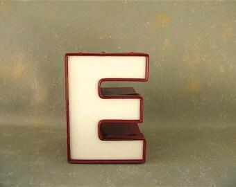 Vintage Channel Letter, Red, Letter E, Sign Letter, light up. electric