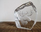 Vintage Nybro Sweden Art Glass Crystal Moose Paperweight with Original Tags