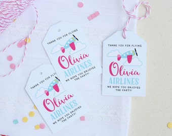 airplane favor tags for airplane birthday party - personalized favor tags - airplane party tags - luggage party tags - girls airplane party