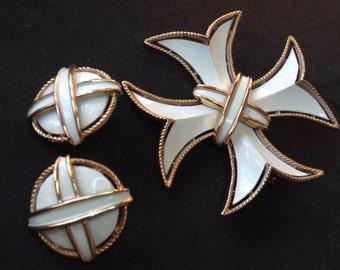 Trifari Maltese Cross Earrings Demi Parure – 1970s Enamel Designer Signed
