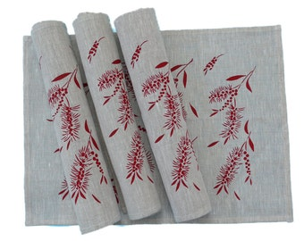 Linen Placemats Screen Printed Linen Place Mats Hand Printed Linen Table Mats Red&Natural (set of 4)
