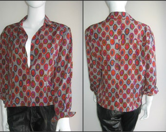 70s 80s vintage abstract blouse