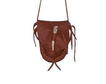 Leather medicine bag antler tip closure mountain man cross body