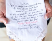 Embroidered Wedding Handkerchief Gift Mother of the Bride Embroidered Wedding Handkerchiefs Canyon Embroidery