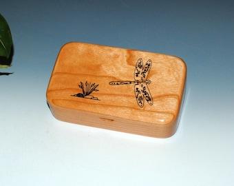 Dragonfly Laser Engraved Cherry Wood Treasure Box, Gift Box, Trinket Box, Stash Box- Small Wooden Box by BurlWoodBox - USA Made - Small Box