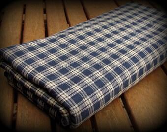 Blue Plaid Fabric, Autumn Fabric, Half Yard, Blue White Fabric, Blue Plaid, Blue Whtie Plaid, Navy Blue Plaid, Cotton, Homespun, Cotton Fabr