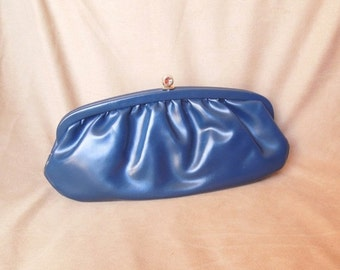 END of SUMMER SALE Sale...Vintage 70's Navy Blue Clutch Bag, Evening Bag, Converts to Shoulder Bag, Vegan
