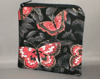 Coin Purse - Gift Card Holder - Card Case -Small Padded Zippered Pouch - Mini Wallet - Butterfly - Red