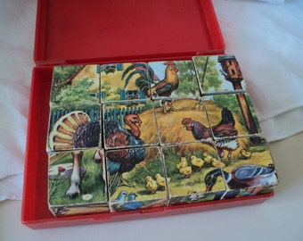 Vintage Hermann Eichhorn Cube Wood Puzzle. Animal Scenes Made in West Germany. 1960s. 6 Scenes, 12 Cubes. With Original Box.
