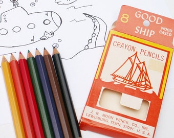 Vintage Back to School Colored Pencils Good Ship Set of 8 Wood Cased Crayons