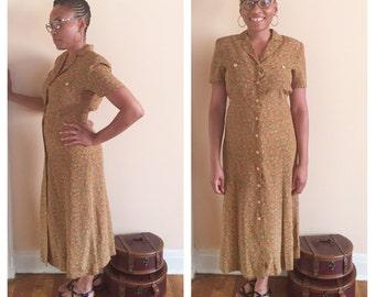 Brown Floral Dress // Groovy Leslie Fay Dress // Brown Vintage Dress