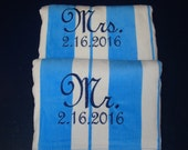 Wholesale Priced, Wedding Gift, 2 Beach Towels for Bride and Groom, Mr. Mrs. Wedding Present