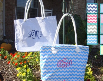 Wholesale Beach Bag, Beach Tote, Bridesmaid Gift, Beach Bag in Canvas Chevron and Seersucker Colors