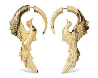 Wooden Fake Gauges Hand Carved Tamarind Wood Earrings - Golden Phoenix