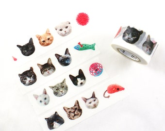 MASTE Cat faces & toys Japanese masking tape - realistic cat faces - Japanese washi tape