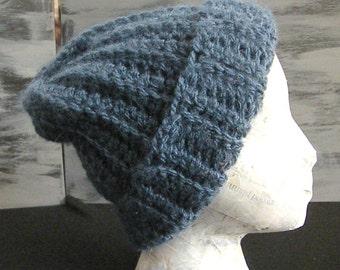 Crochet Watchman Hat, Denim Colored, Warm, Man or Woman