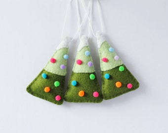 Mini Christmas Tree Ornaments, Handmade Christmas Ornament, Holiday Decoration, Pompom, Hand-stitched, ready to ship, cyber monday, folk art
