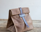 No. 215T Lunch Tote in Rust Waxed Canvas & Cordovan Leather
