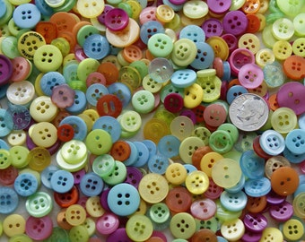 1000 Buttons, Small, Tropical Delite Mix, Sewing, Grab Bag, Craft Button, Jewelry, Collect (001 B)