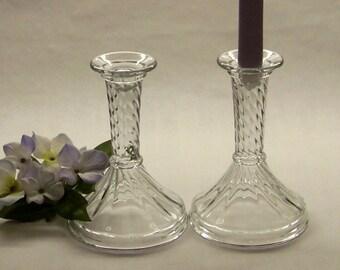 Crystal Candlestick Pair, Swirl Pattern Candlesticks, Crystal Candle Holders, Taper Candle Holders, Wedding Decor